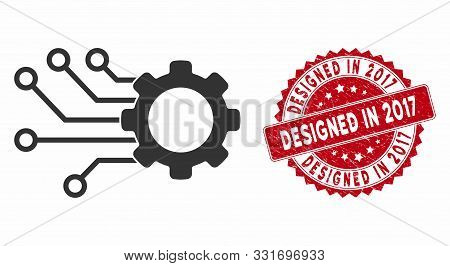 Vector Smart Gear Icon And Rubber Round Stamp Seal With Designed In 2017 Caption. Flat Smart Gear Ic
