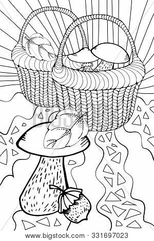 Vector Wicker Basket With Outline Forest Mushroom In Black Isolated On White Background. Boletus, Ch
