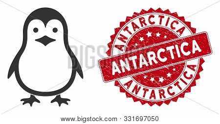 Vector Penguin Icon And Distressed Round Stamp Seal With Antarctica Phrase. Flat Penguin Icon Is Iso