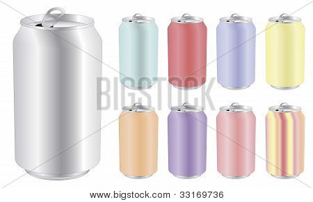 Blank Drink Can In Differents Colors