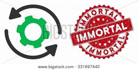 Vector Infinite Rotation Icon And Rubber Round Stamp Watermark With Immortal Caption. Flat Infinite
