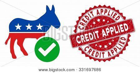 Vector Vote Democrat Donkey Icon And Grunge Round Stamp Watermark With Credit Applied Phrase. Flat V