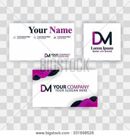 Clean Business Card Template Concept. Vector Purple Modern Creative. Md Letter Logo Minimal Gradient