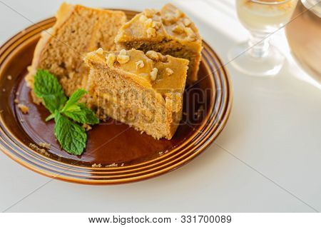 Coffee Cake Layered With Coffee Buttercream And Walnuts, Colombian Coffee And Walnut Cake
