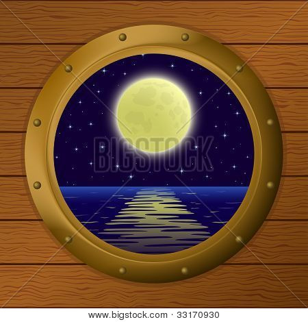 Window with moon and sea