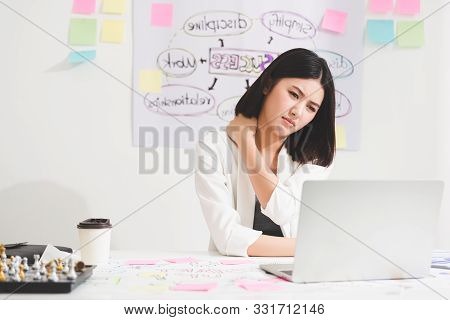 Office Syndrome Concept. Beautiful Young Asian Businesswoman With Office Syndrome Have Problem With