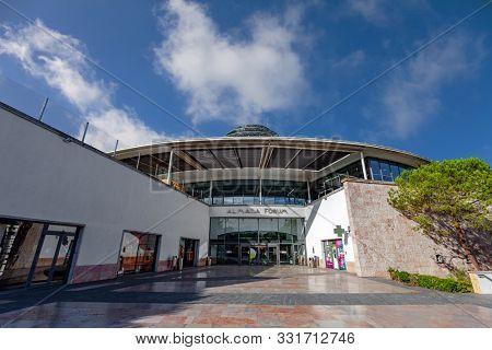 Almada, Portugal - October 24, 2019: Entrance of the Almada Forum shopping center or mall, one of the largest shopping malls in Portugal close to Lisbon.