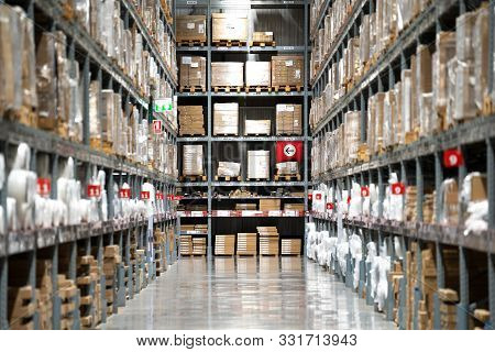 Background Of Warehouse Or Storehouse Industrial And Logistic Company.warehousing On The Floor And C