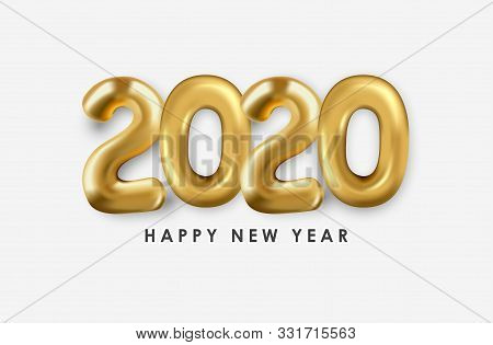 2020 Gold Text Isolated On White Background, 2020 Text, New Year 2020, 2020 Text For Calendar New Ye