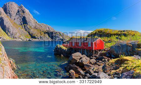 Red Fishing hut in Lofoten islands