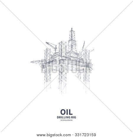 Isolated Oil And Gas Drilling Low Poly Wireframe Banner Template On White Background. Polygonal Naph