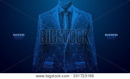 Businessman In A Suit. Abstract Polygonal Wireframe Closeup A Young Attractive Successful Man In An