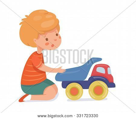 Boy Playing With Toy Car Flat Vector Illustration. Child With Plastic Cargo Truck Cartoon Character.