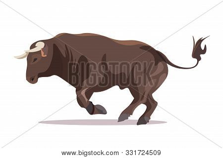 Bull In Jumping Pose Flat Vector Illustration. Furious Male Cattle With Sharp Horns Isolated On Whit