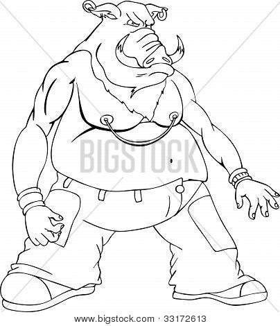 Boar gangster. Black and white vector illustration in cartoon style. poster