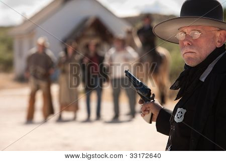 Outgunned Sheriff At Showdown