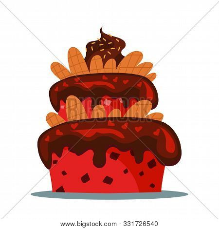 Delicious Three Tier Cake Flat Vector Illustration. Sweet Multi Layered Dainty With Creamy Icing. Co