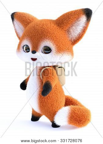 3d Rendering Of An Adorable Cute Happy Furry Cartoon Fox Wearing A Backpack, Going To School. White
