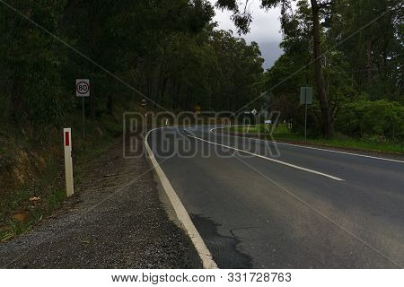 Melbourne, Vic / Australia: Nov 3 2019: Speed Limit 80 Km Per Hour On Empty Road