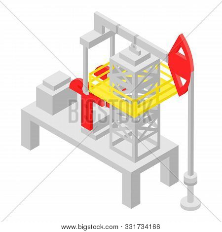 Extract Derrick Icon. Isometric Of Extract Derrick Vector Icon For Web Design Isolated On White Back