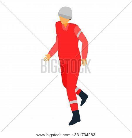Derrick Helmet Man Icon. Isometric Of Derrick Helmet Man Vector Icon For Web Design Isolated On Whit