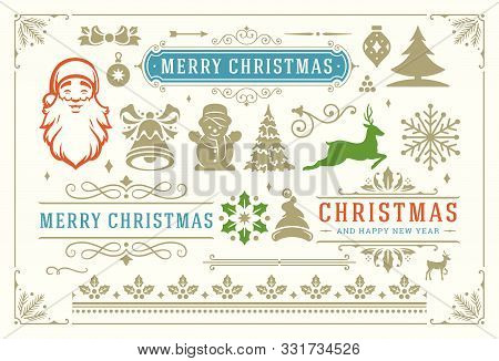 Christmas Vector Decoration Symbols, Ornate Vignettes And Icons For Labels, Badges And Greeting Card