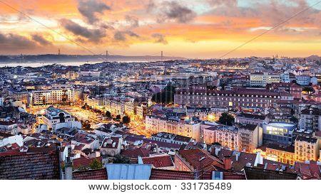 Lisbon - Lisboa Cityscape, Portugal At Sunset