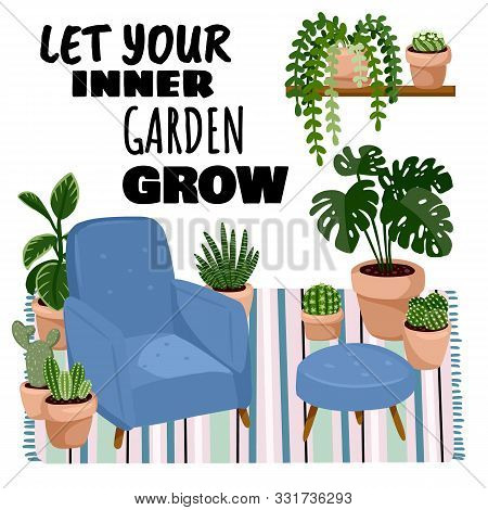 Let Your Inner Garden Grow Postcard. Scandic Stylish Room Interior With Succulent Plants. Home Lagom
