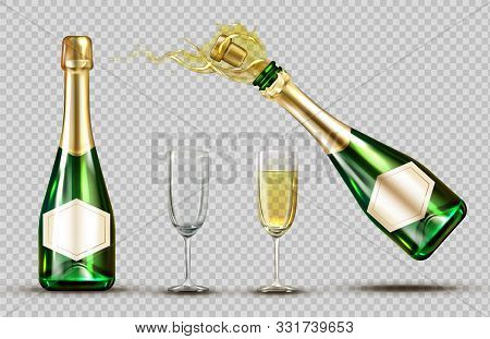 Champagne Explosion Bottle And Wineglasses Set. Closed And Open Bubbly Flasks With Glasses, Sparklin