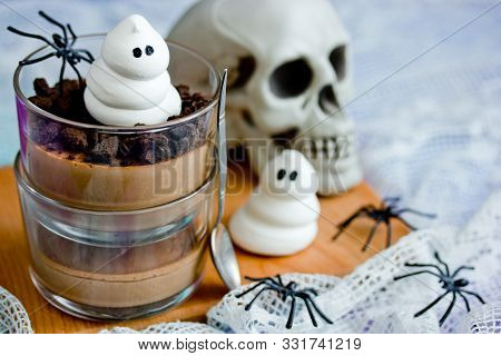 Halloween Ghost Chocolate Dessert In Glass For Kids Party