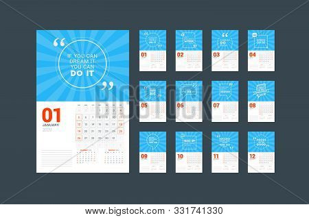 Wall Calendar Planner Template For 2020. Vector Design Print Template With Typographic Motivational