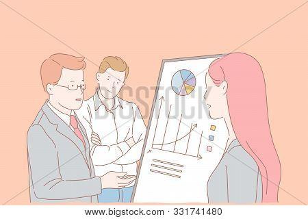 Analytics Department Meeting, Company Staff Cooperation Concept. Teamwork, Firm Development Ways Sea