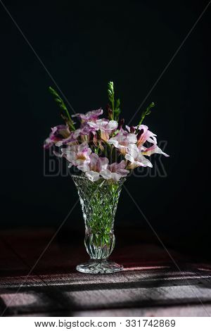 Purple And White Flowers In A Vase Placed On The Table