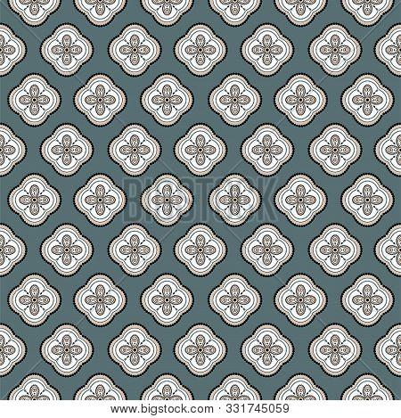 Seamless Vector Geometric Quatrefoil Rosette Pattern Background. Floral Geometric Shapes Print Textu