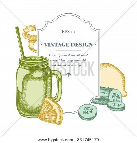 Badge Design With Pastel Lemons, Smothie Jars, Cucumber Stock Illustration