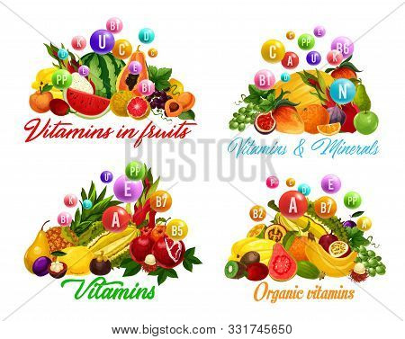 Vitamins In Fruits And Berries. Vector Tropical Papaya And Banana, Durian And Pineapple, Mango And O