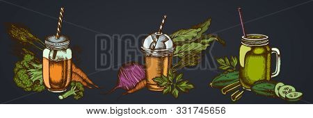 Smothie Sets Of Broccoli, Beet, Smoothie Cup, Smothie Jars, Cucumber, Celery Stock Illustration