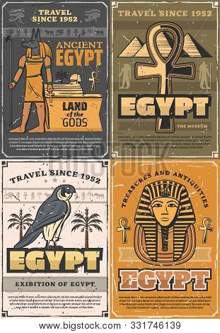 Ancient Egypt Land Of Gods, Retro Museums And Exhibitions. Vector God Of Sun Ra, Falcon Bird And Pal