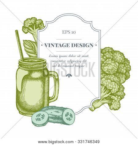 Badge Design With Pastel Broccoli, Basil, Smothie Jars, Cucumber Stock Illustration