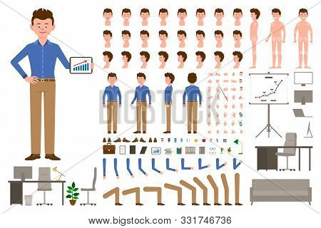 Dark Brown Hair Office Worker Cartoon Character Body Parts Creation Set. Young Man In Light Brown Pa