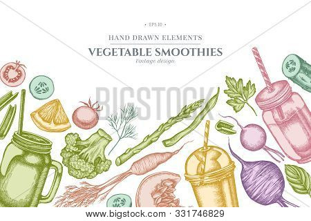 Design With Pastel Lemons, Broccoli, Radish, Green Beans, Cherry Tomatoes, Beet, Greenery, Carrot, B