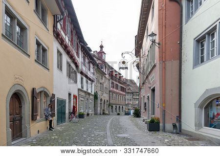Stein Am Rhein, Switzerland - October 2019: Preserved Historic Buildings At Rathausplatz, A Town Squ