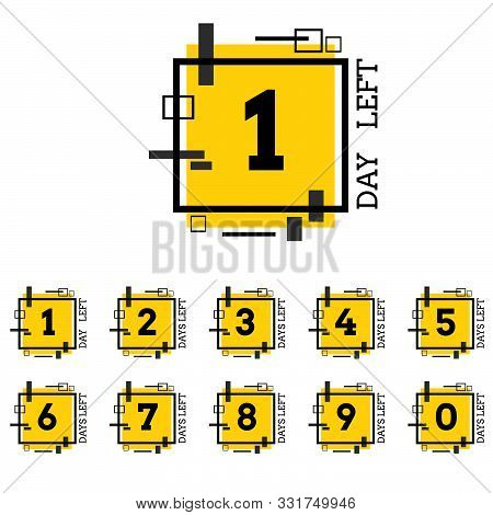 Days Left Number Yellow Black Geometric Design For  Project Eps 10 Vector