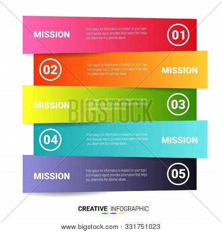 Presentation Business Infographic Template, Abstract Infographics Number Options Template With 5 Ste