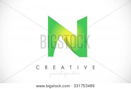 N Letter Design Icon With Paper Cut Design Creative Vector Logo Illustration In Green Colors.