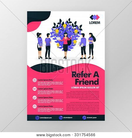 Multi Level Marketing Business Or Affiliate Product And Looking For Downlines. Refer A Friend Vector