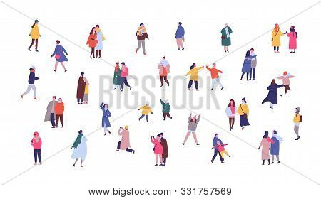 People In Winter Outwear Walking Flat Vector Illustrations Set. Tiny People, Romantic Couples Having