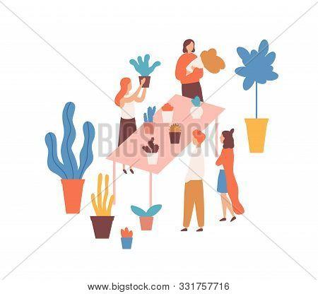 Flea Market, Flower Fair Flat Vector Illustration. Female Sellers And Buyers Cartoon Characters. Hou