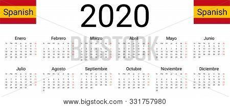 Spanish 2020 Calendar. Vector Design Template Start From Monday. All Months For Wall Calendar