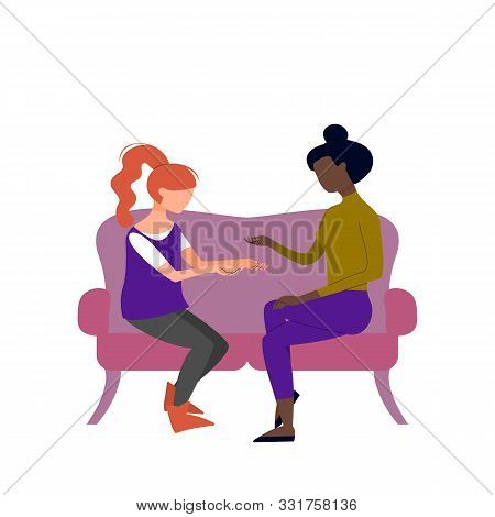 Couple Of Black And Caucasian Adult Women Are Talking Sitting On Sofa. Argue, Fight, Angry Conversat